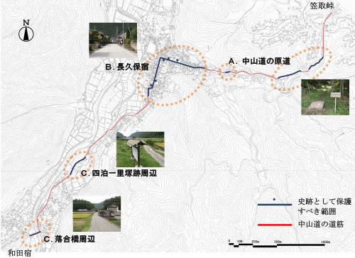図3 長久保・大門地区の史跡として保護すべき範囲